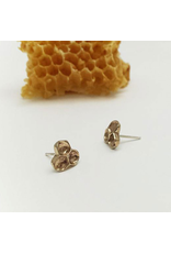 Honeycomb Stud Earrings - Bronze