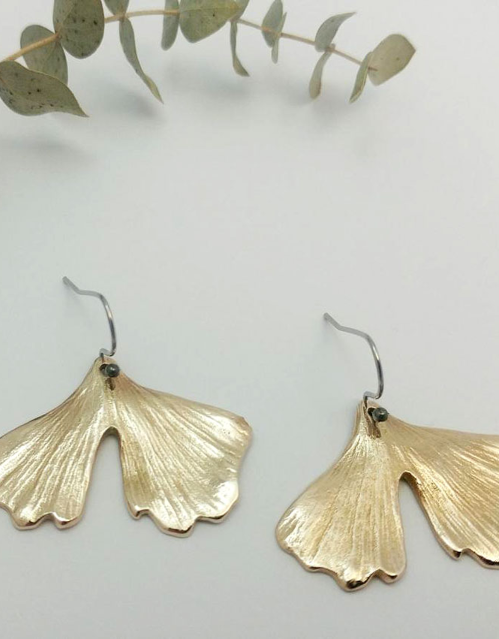 Handmade Cast Ginkgo Leaf Earrings - Bronze