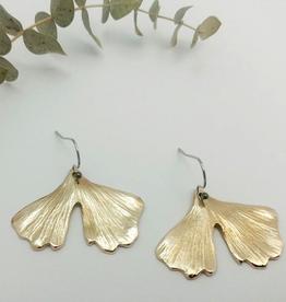 Handmade Cast Ginkgo Leaf Earrings - Bronze