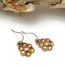 Handmade Honeycomb Drop Earrings - Bronze