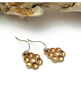 Honeycomb Drop Earrings - Bronze