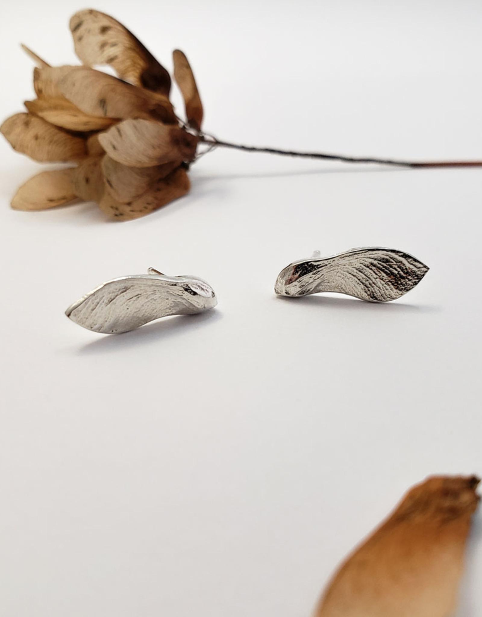 Handmade Maple Key Stud Earrings - Sterling Silver