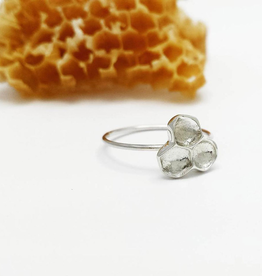 Handmade Cast Honeycomb Ring - Sterling Silver