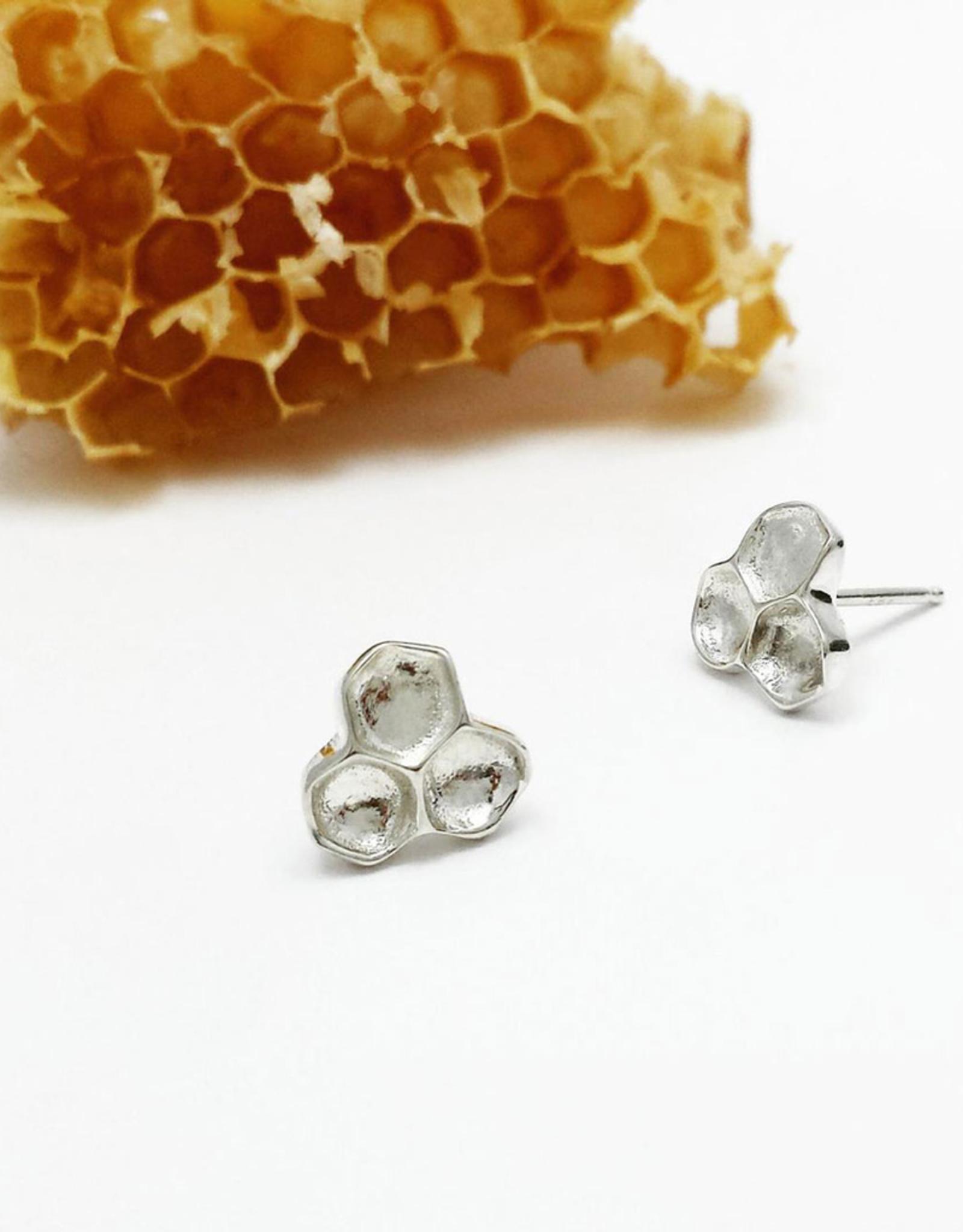 Handmade Honeycomb Stud Earrings - Sterling Silver