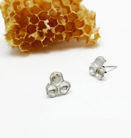 Handmade Honeycomb Stud Earrings - Sterling Silver