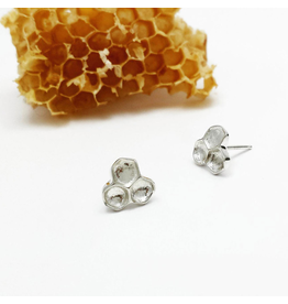 Honeycomb Stud Earrings - Sterling Silver
