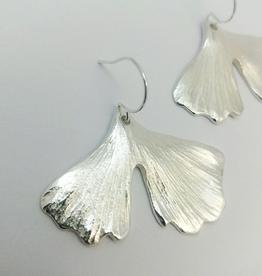 Handmade Cast Ginkgo Leaf Earrings - Sterling Silver