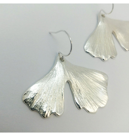 Cast Ginkgo Leaf Earrings - Sterling Silver