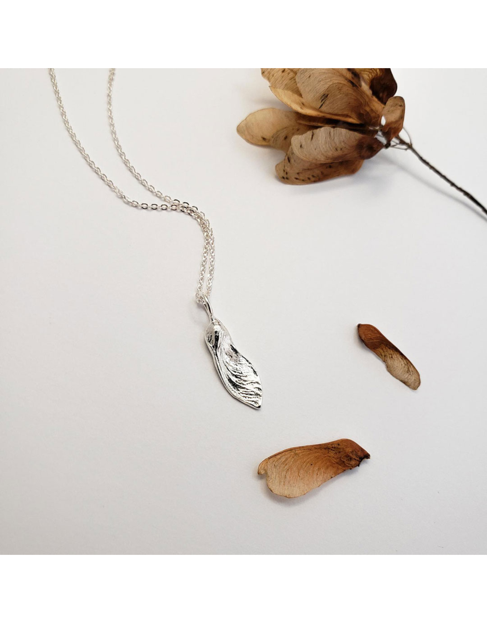 Maple Key Pendant - Sterling Silver