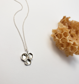 Handmade Honeycomb Pendant - Sterling Silver