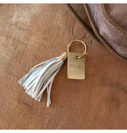 Leather Tassel Keychain - Pause