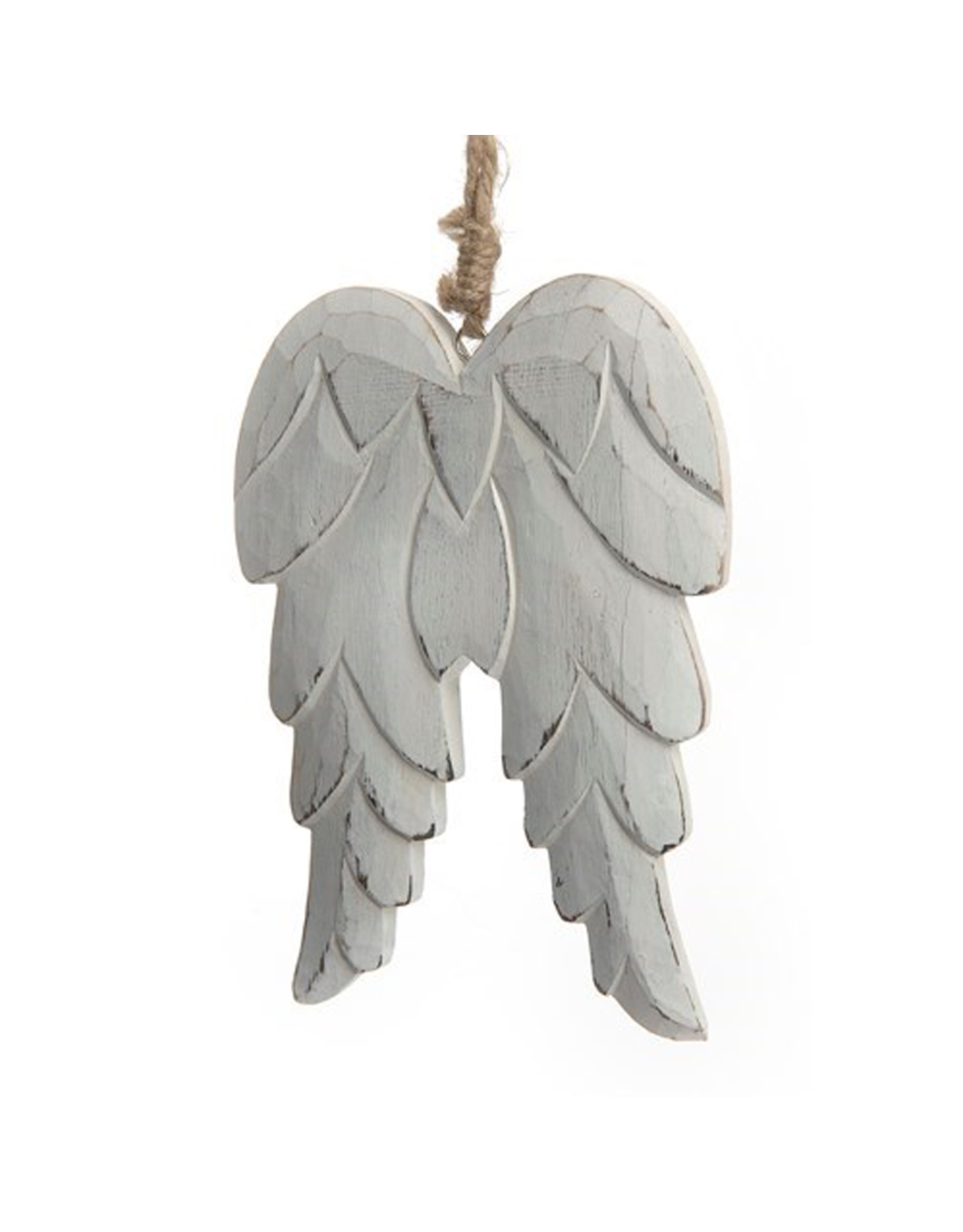 Carved Wood Angel Wings Ornament