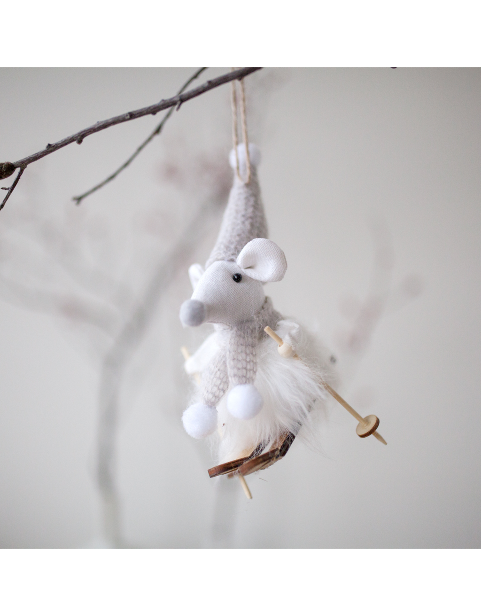 Skiing Mouse Ornament
