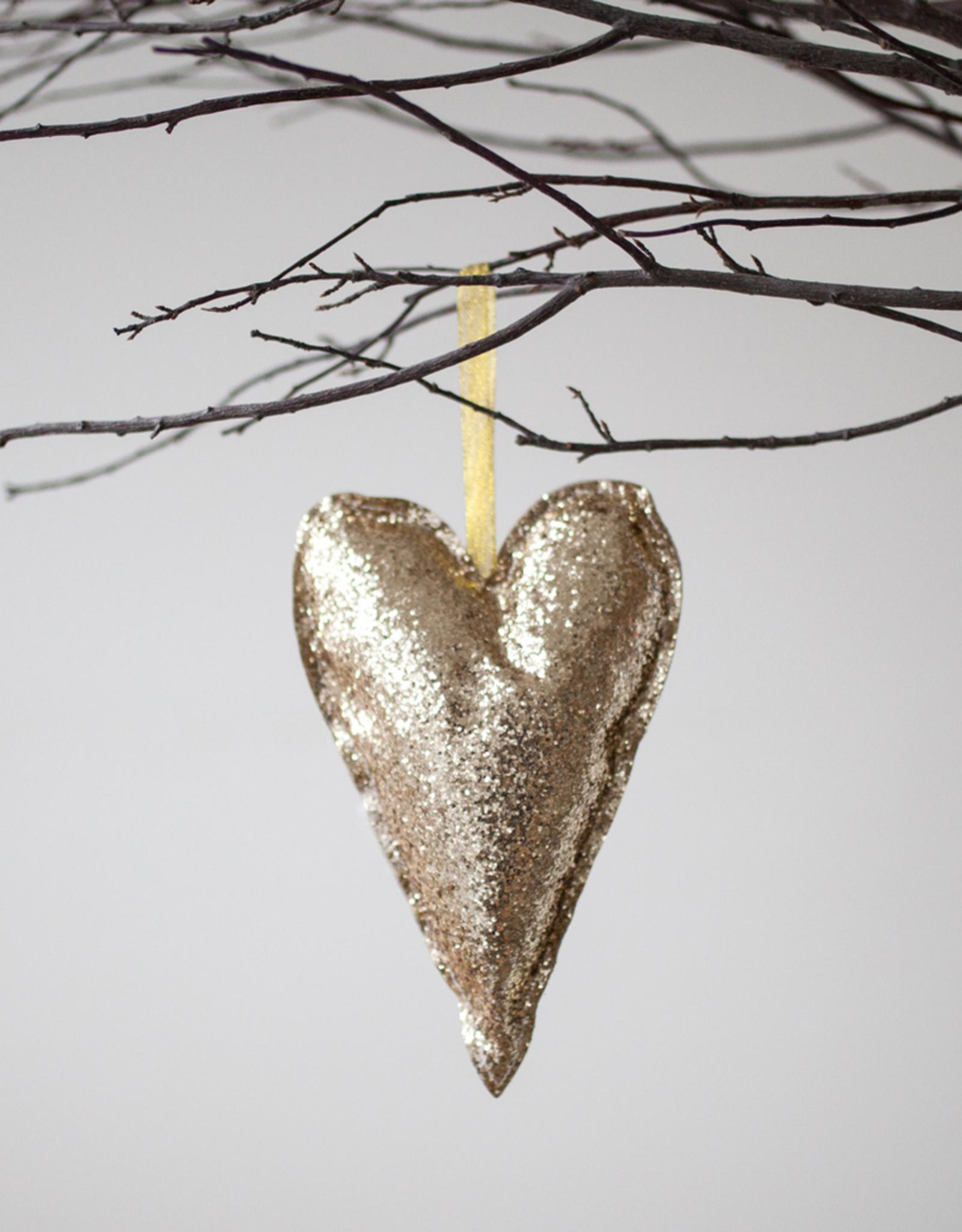 New Gold Glitter Heart Ornament