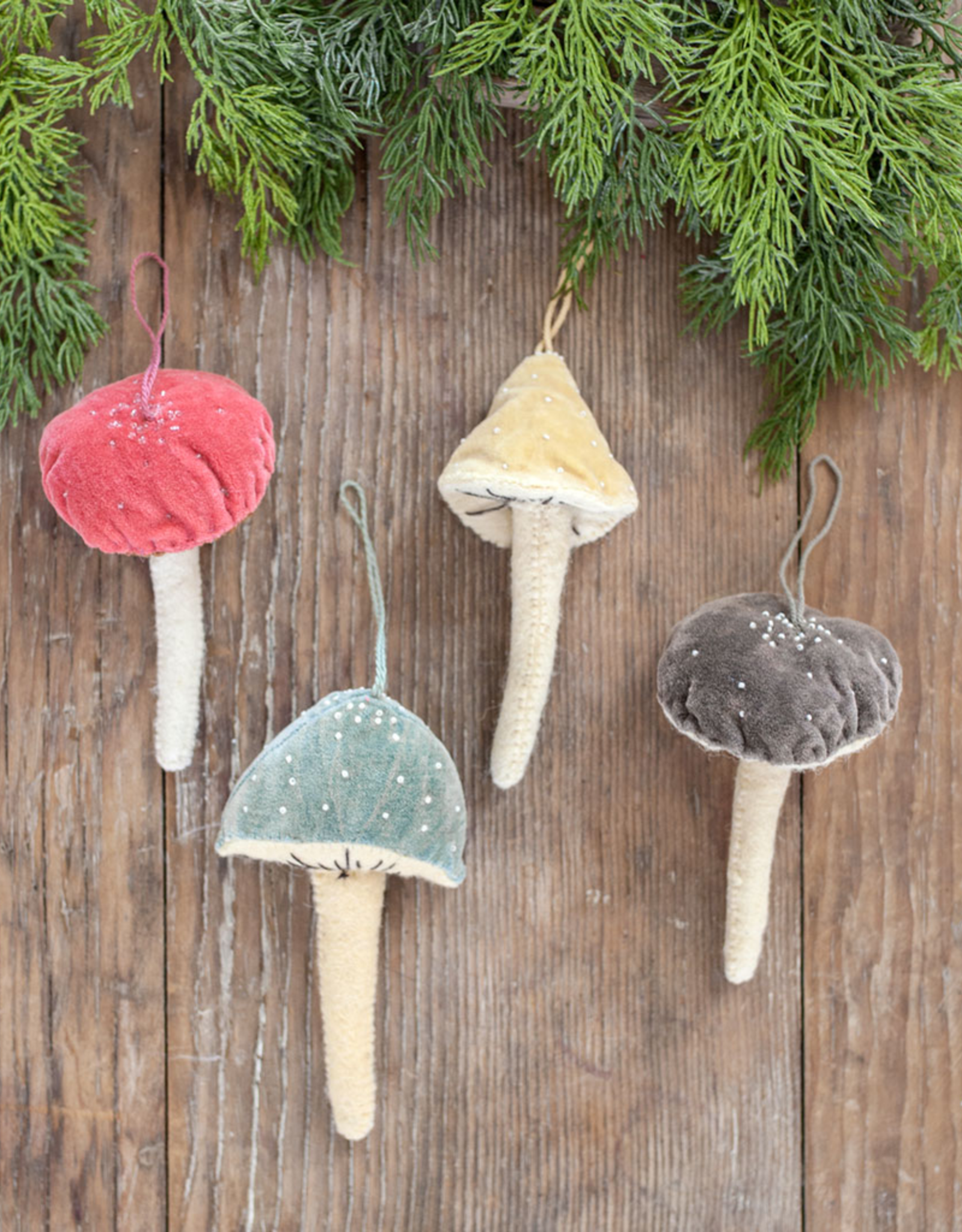 New Beaded Velvet Mushroom Ornament