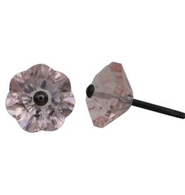 New Glass Flower Knob – Pink