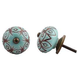 New Etched Ceramic Knob - Turquoise & Bronze