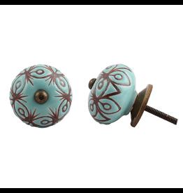 Etched Ceramic Knob - Turquoise & Bronze