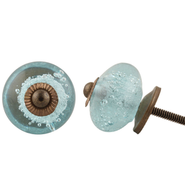 New Round Bubble Glass Knob - Turquoise