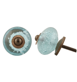 Round Bubble Glass Knob - Turquoise