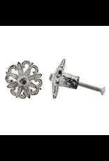 Cast Iron Floral Knob - Antique White