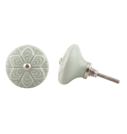 Embossed Ceramic Knob - Sage Green Flower