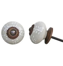 New Round Ceramic Knob – Cream & White Leaf