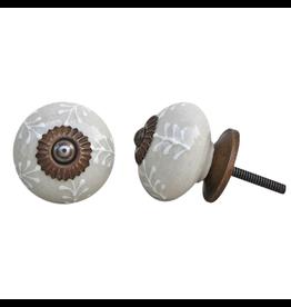 Round Ceramic Knob – Cream & White Leaf