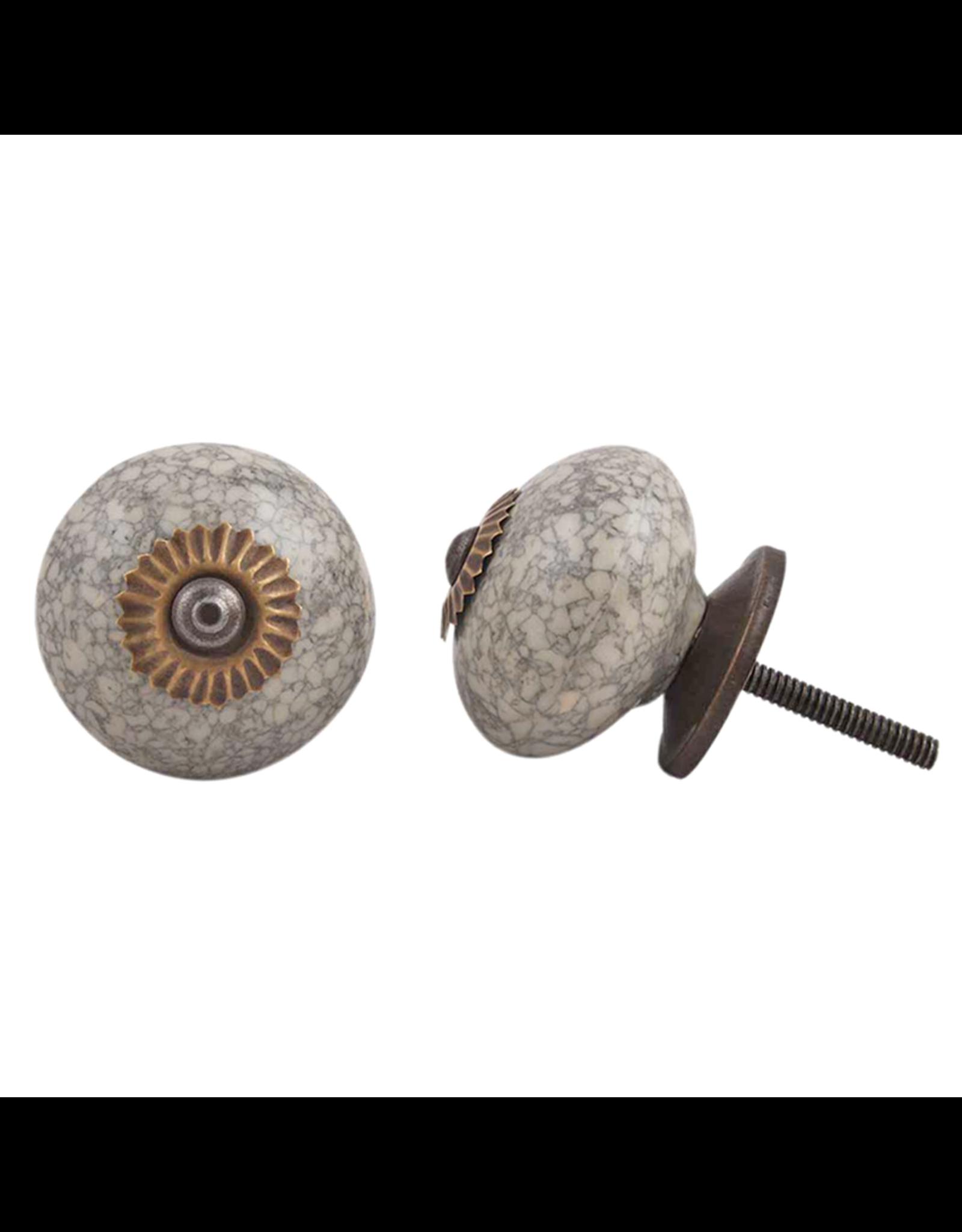 Round Ceramic Knob – Grey & Cream Marble