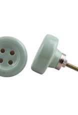 New Round Ceramic Button Knob - Sage Green