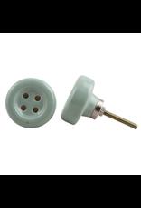 Round Ceramic Button Knob - Sage Green