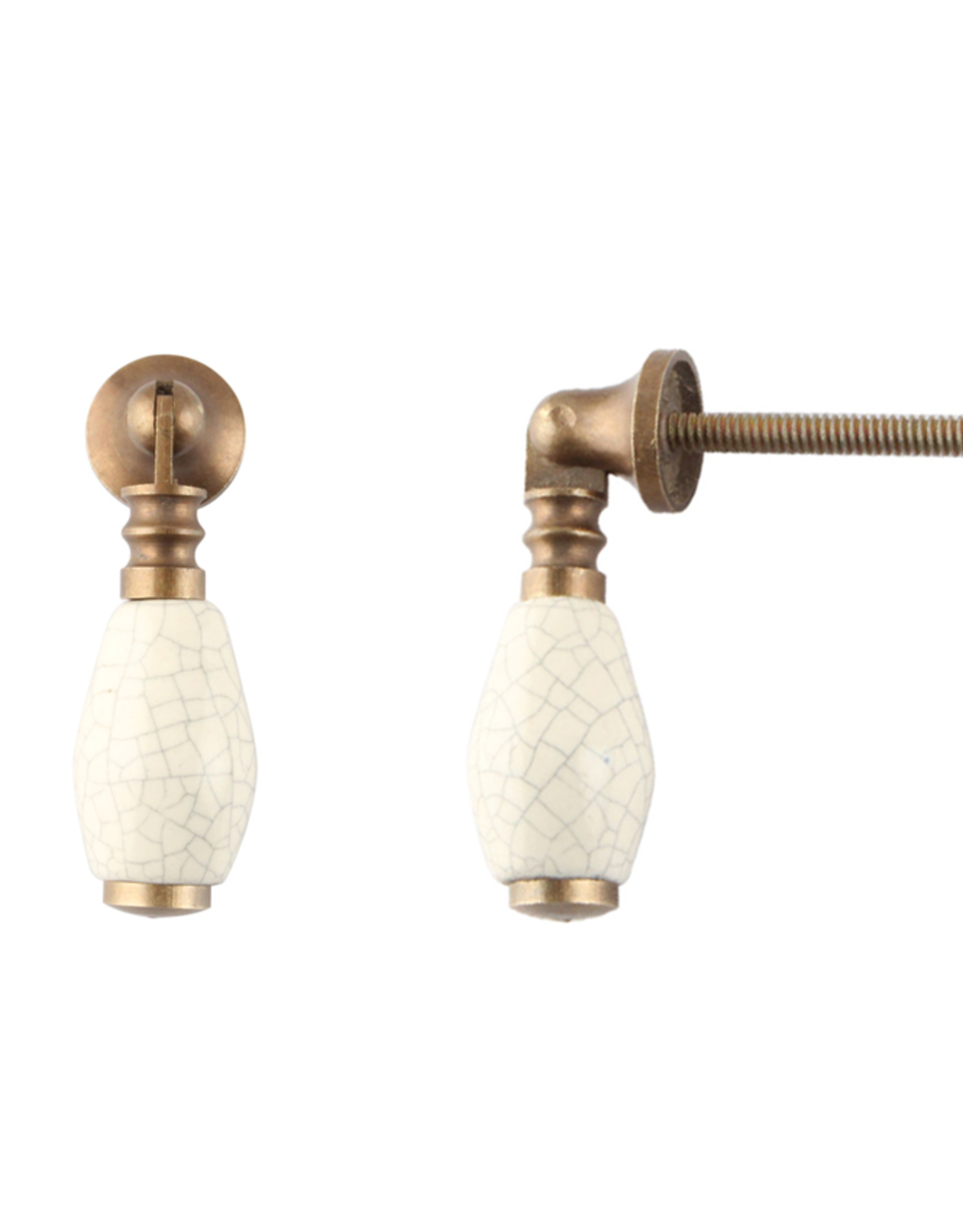 New Cream Crackle Brass Drop Pull