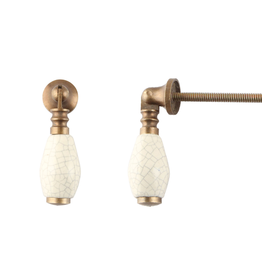 New Cream Crackle Brass Drop Pull