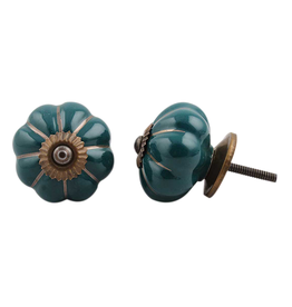 Ceramic Melon Knob – Dark Green & Gold Stripe