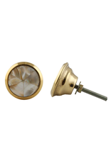 Round Brass Knob - Natural Shell