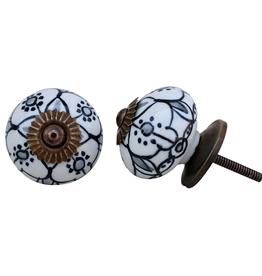 New Round Ceramic Knob - Floral Black + White