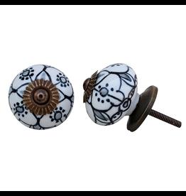 Round Ceramic Knob - Floral Black + White