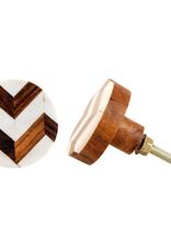 New Round Wood + Bone Knob - Natural