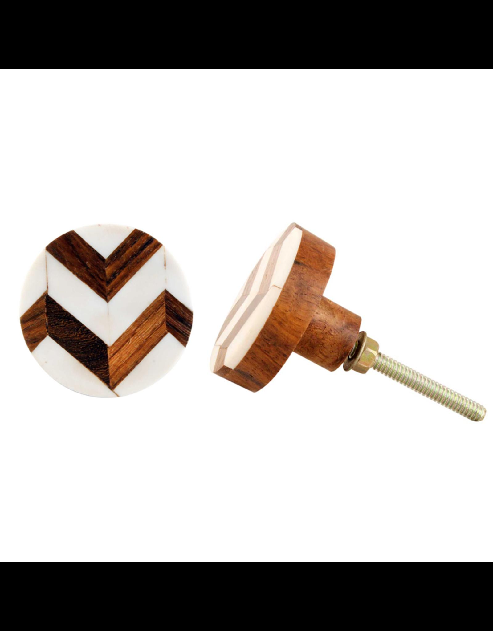 Round Wood + Bone Knob - Natural