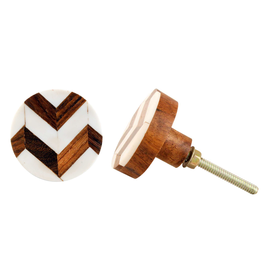 Round Wood + Bone Knob - Natural