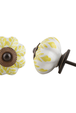 Ceramic Melon Knob - Yellow + White Leaf