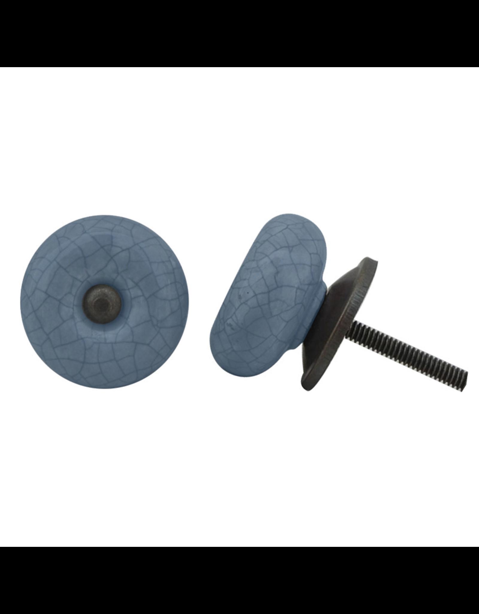 Round Ceramic Knob - Blue Crackle