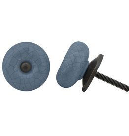 New Round Ceramic Knob - Blue Crackle