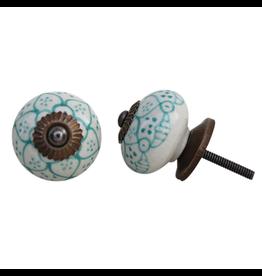 Round Ceramic Knob - Turquoise + Cream