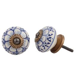 New Round Ceramic Knob - Blue + White Zinnia