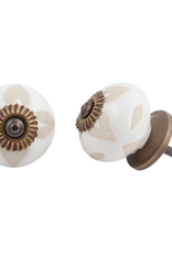 New Round Etched Ceramic Knob - Buff + White