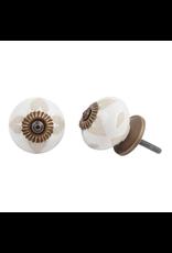 Round Etched Ceramic Knob - Buff + White