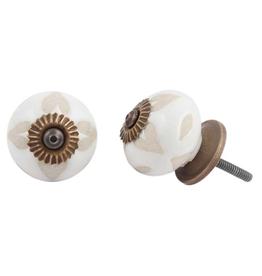 New Round Etched Ceramic Knob - Buff + White
