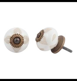 Round Etched Heart Ceramic Knob - Buff + White