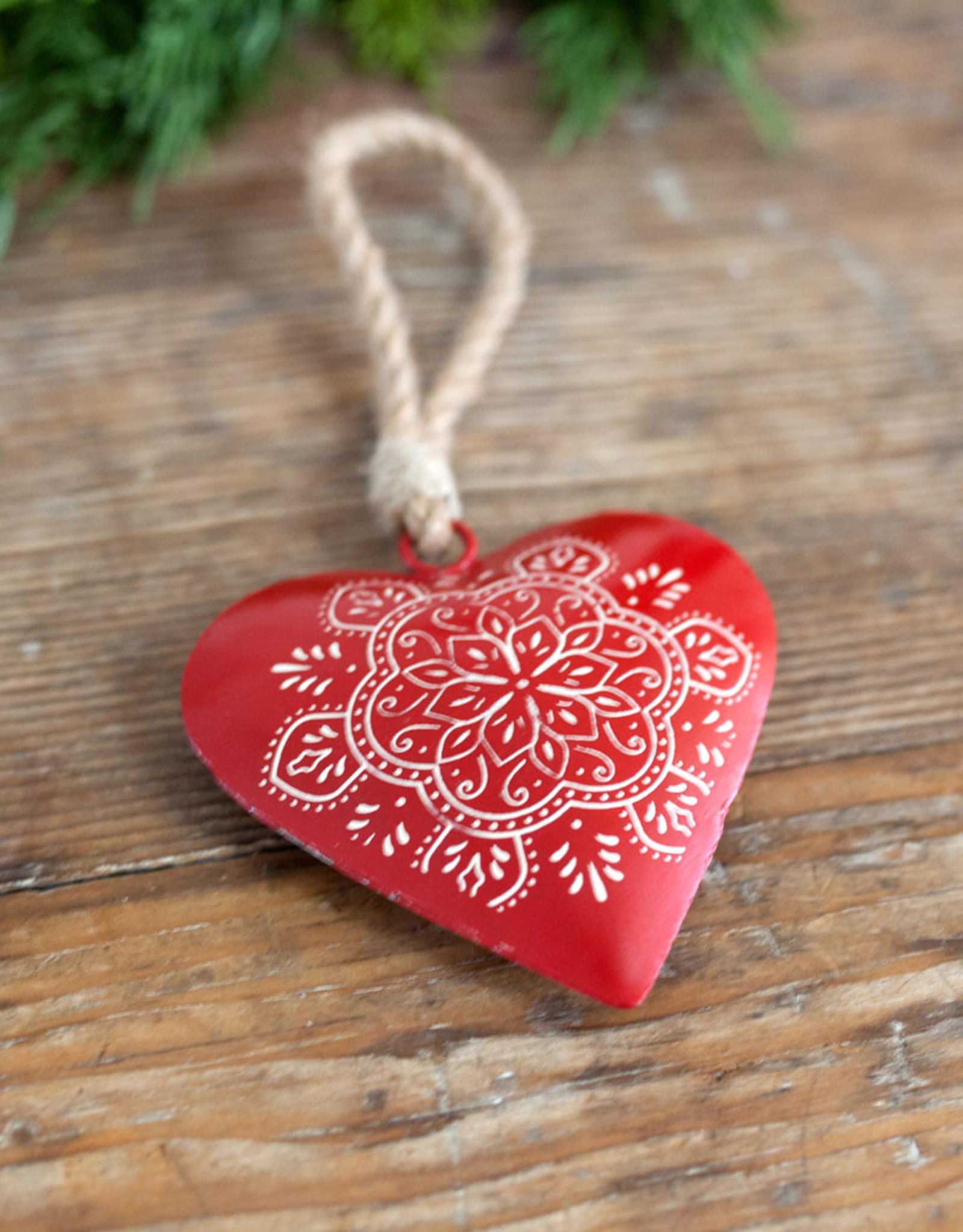 New Metal Heart Ornament - Scandi